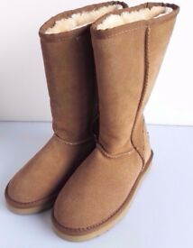 UGG BOOTS SIZE 2.5 NEW Never Been Used Tan Suede Classic Tall Sheepskin NO BOX