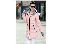 New - Women fashion winter long hooded coat with silver grey lining_pink, UK size 8 - 10