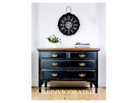 Chest of Drawers in Black with Brass Handles