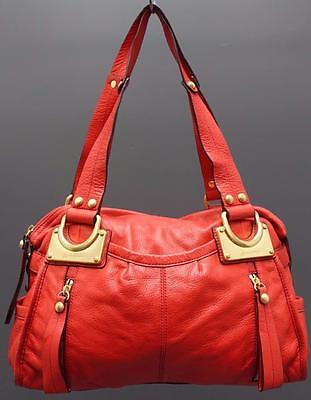 B.Makowsky Large Soft Red Leather Duffel Shoulder Satchel Handbag Purse