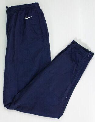 Vintage Nike White Tag Nylon Navy Blue Track Pants Zip Up Ankle Elastic Size XL