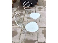 PAIR OF METAL OUTDOOR MATCHING PATIO CHAIRS, DOVE GREY, SHABBY CHIC
