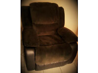 Brand NEW! Suede and Leather reclining comfort armchair Brown AMAIZING PRICE