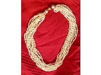 Stunning multi strand freshwater pearl necklace with cultured pearls and 14ct gold