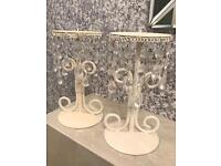 Cream crystal candle stands