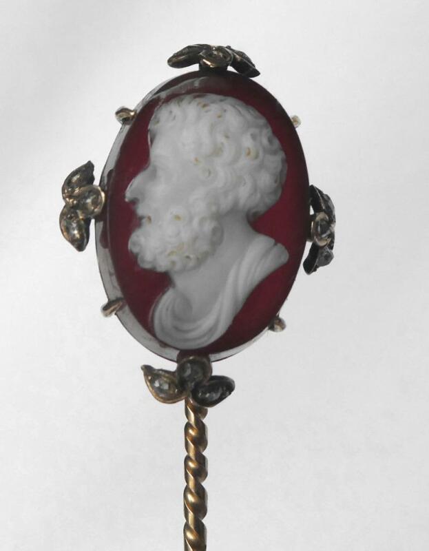 Victorian 14k Sardonyx Hardstone Cameo ARISTOTLE Rose Cut Diamonds Hat Stick Pin