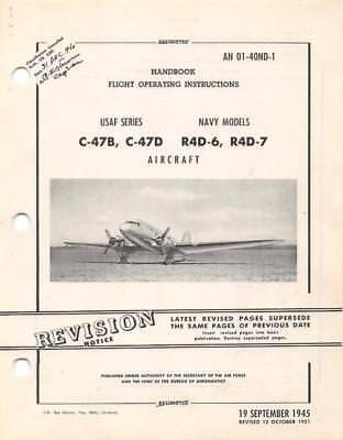 1951 DOUGLAS C-47B, C-47D/NAVY R4D-6,7 SKYTRAIN PILOTS FLIGHT MANUAL HANDBOOK-CD