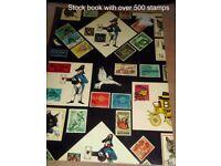 Stamp Album Stockbook over 500 World used stamps