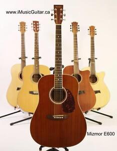 Free Guitar stand, eTuner and 5 picks with Mizmor E600 Acoustic Guitar Brand New
