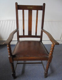 Solid Oak Vintage Carver Chair with Inscribed Plate Dated 1930