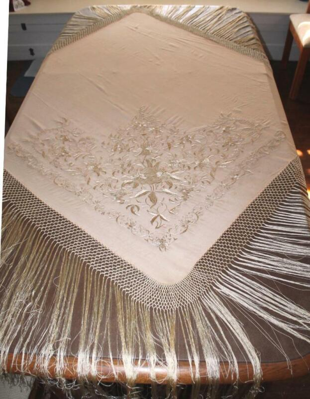Antique Silk Heavy Hand Embroidered w/Light Gold on Very Light Peach Piano Shawl