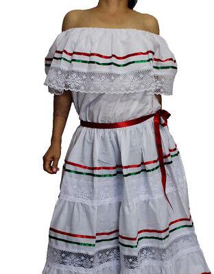 WHITE PEASANT MEXICAN LACE DRESS OFF SHOULDER CINCO - Cinco De Mayo Kleider