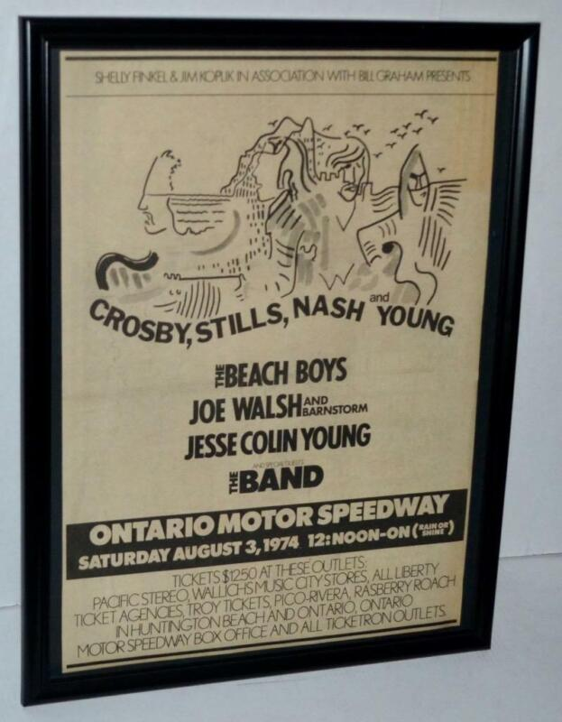 CROSBY STILLS NASH YOUNG 1974 BEACH BOYS  THE BAND  FRAMED CONCERT POSTER / AD