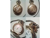 Vintage Gold plated retro vintage Quartz pocket watch
