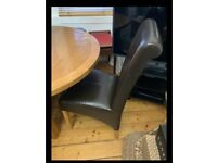 Free 4 x leather effect dining chairs
