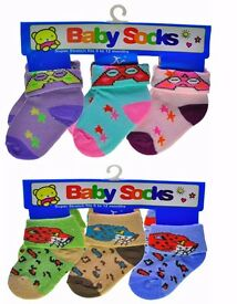120 Pairs Wholesale Job Lot Cotton New Socks for Baby Children size 0-12M, NEW