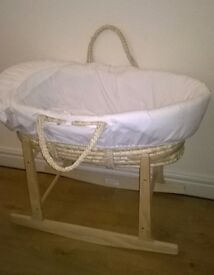 Moses Basket With Mattress, Bedding sets, and Rocking Stand