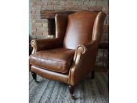 Laura Ashley Southwold leather armchair vintage wingback chair