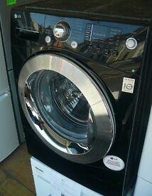 Black LG 9kg load 1400 spin washing machine A+ energy rated