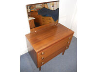Mid Century 3 Drawer Dressing Table Chest with Mirror