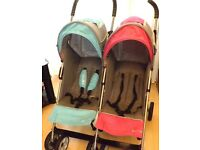 DOUBLE PRAM / PUSHCHAIR ,I SIDE PINK /GREY I SIDE BLUE /GREY , NO RAINCOVER