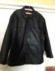 Mens Leather Coat / Long Jacket