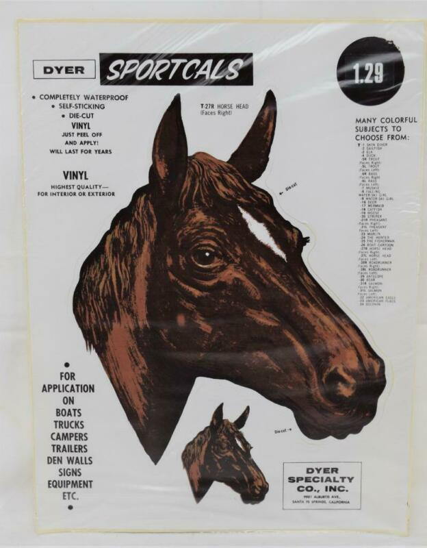 NOS Dyer Sportcals Die Cut Vinyl Waterproof Decal Sticker Horse Head T-27R