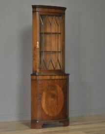 Attractive Vintage Tall Mahogany Corner Display Bookcase Cabinet, Base Cupboard