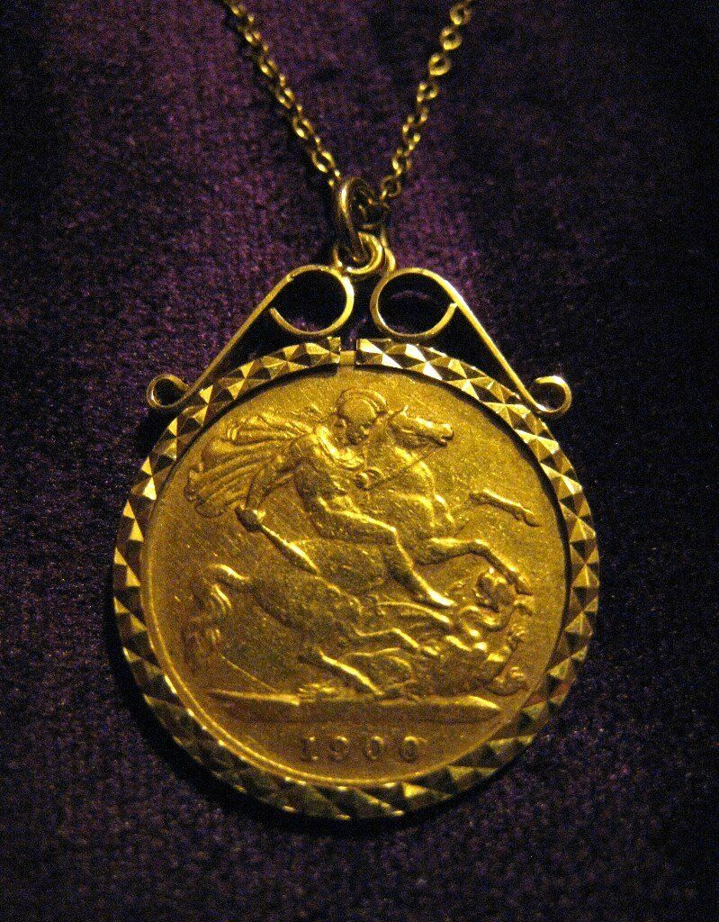 Antique 22ct gold half sovereign necklace 1900 veiled queen antique 22ct gold half sovereign necklace 1900 veiled queen victoria hallmarked 9ct mount aloadofball Image collections