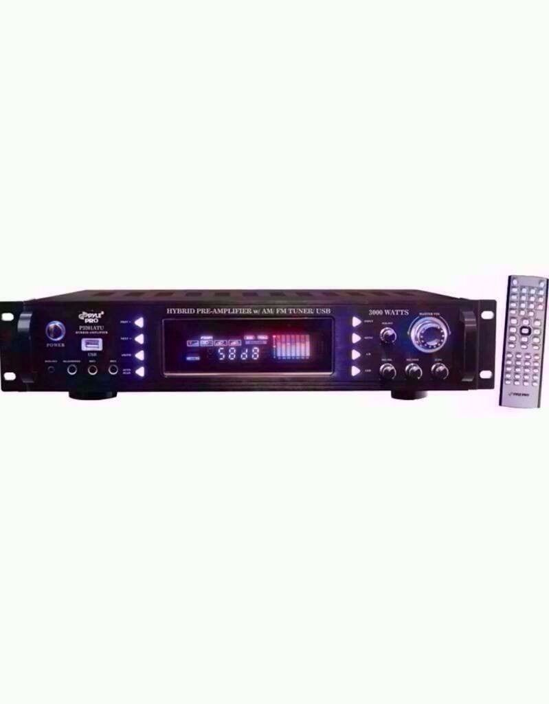 PYLE 3000-Watt Hybrid Home Stereo Receiver Amp with USB Separate gain control for preamp & subwoofer