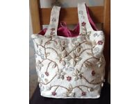 Cotton Bag decorated with Beads & Shells NEW