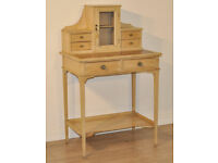 Attractive Small Antique Victorian Pine Ladies Writing Desk, Central Cupboard
