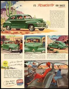 "1946 full-page, color, vintage print ad ""Plymouth for Safety"""