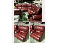 Red leather corner sofa & 2chairs all recliner
