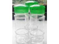 3 New Green Lids Clear Glass EMPTY Refillable Vintage Spice Jars+GET 1 FREE SPICE JAR!