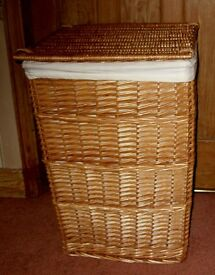 "LINEN BASKET NATURAL WICKER LINEN LINED AS NEW 24"" HIGH X 16"" SQUARE"