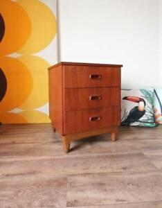 Retro Parker Danish Style Teak 3 Drawer, Bedside Side Table