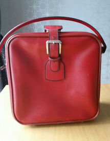 Vintage red leather weekend bag suitcase