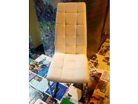 Contemporary Chrome and White Leather S Frame Chair