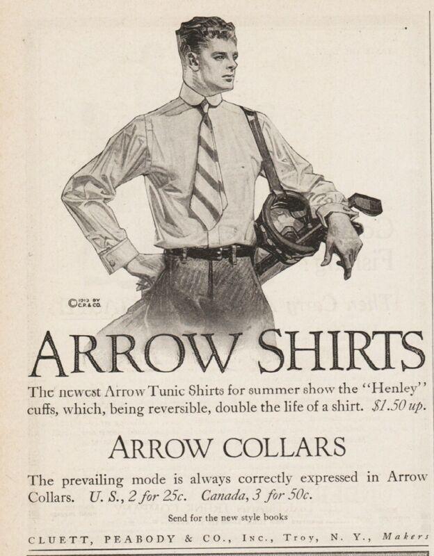 1913 Cluett Peabody Troy NY Arrow Shirts The Golfer Art Magazine Original Ad