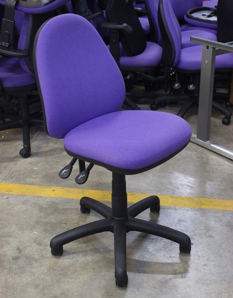 armless office swivel computer chair operator task seat purple