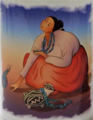 Navajo Artist Coffee Mug Bisbee R C Gorman Native American Woman Ceramic White