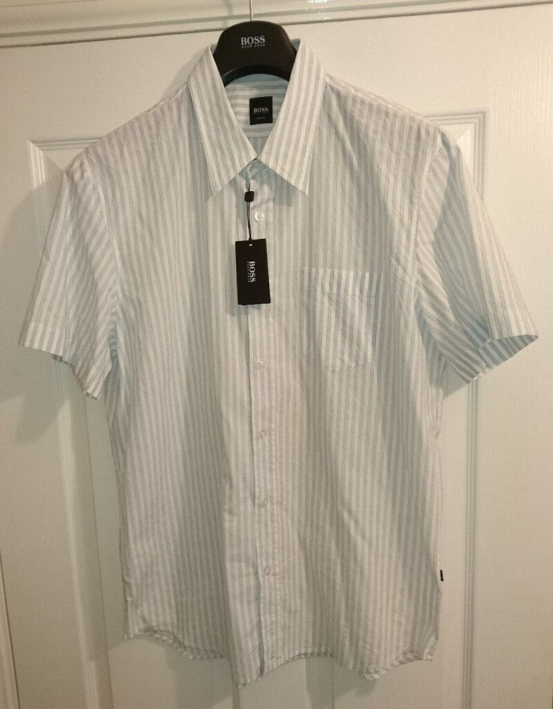 aa4d8e2e Hugo Boss Black Label White With Blue Stripe Shirt XL Slim Fit Short Sleeve  As New Condition