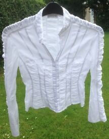 Women's white cotton blouse by Linea