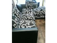 Black faux leather corner sofa with chair small free delivery £120 bargain