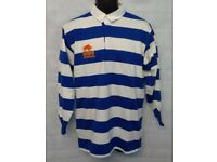 Mens Raging Bull Stripe Long Sleeve Rugby Jersey Polo Shirt Top Royal/White New