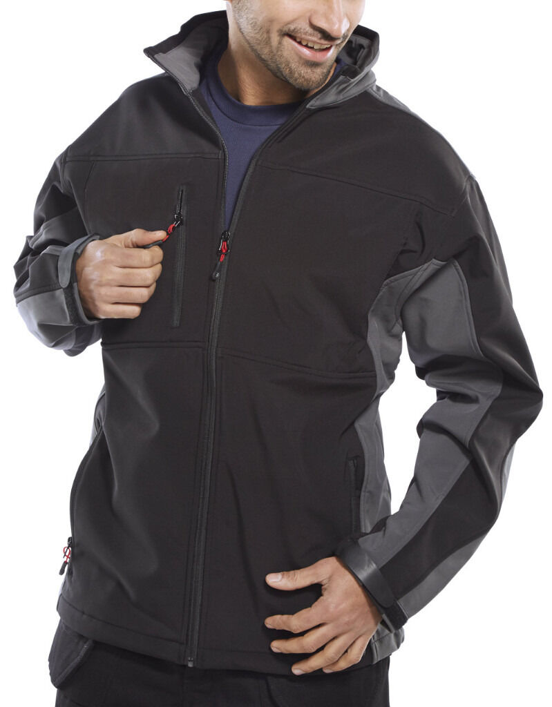 brand new jacket, small 36-38 chest. water resistant, windproof, breathable, soft shel, black & grey