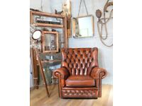 Chesterfield Buttoned Leather Vintage Armchair Tan