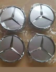 Mercedes center caps 75mm merc hub cabs sliver