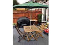 Garden table, chairs, parasol and base